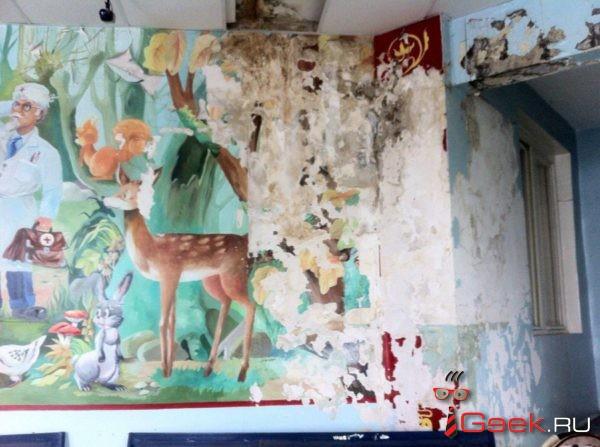 В детской поликлинике Серова талая вода льется на детские коляски. Стены «жрет» грибок