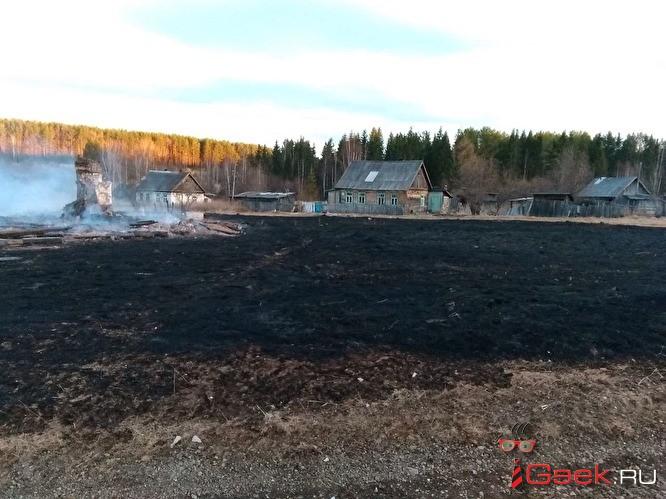На Урале из-за лесного пожара сгорели три жилых дома и 10 заброшенных построек