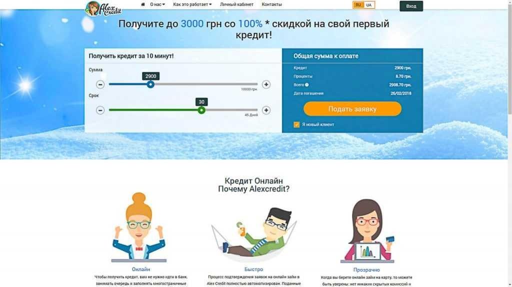 онлайн займ в Алекс Кредит